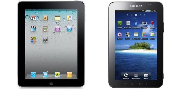 � esquerda, o iPad. � direita, o GalaxyTab. As medidas na imagem acima n�o correspondem � real propor��o de tamanho -- o iPad � maior que seu principal concorrente no Brasil