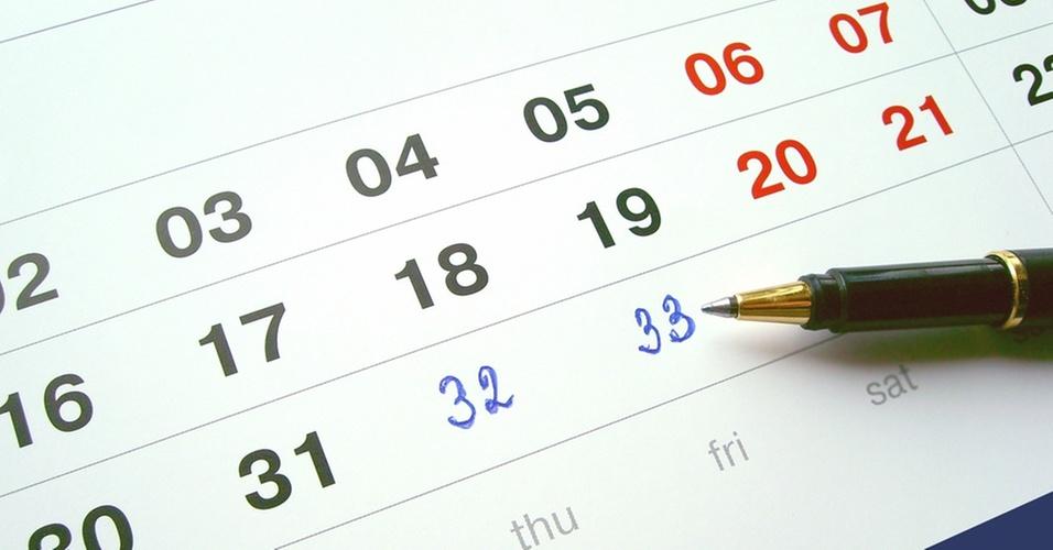 Agenda calendário excel dias