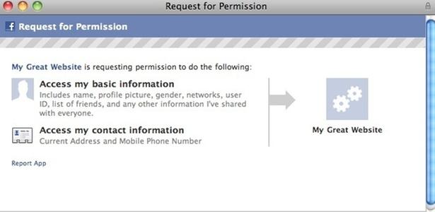 Página de permissão para acesso a dados pessoais (como telefone e endereço) do Facebook