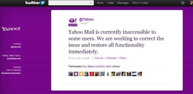 Mensagem no perfil oficial do Yahoo! no Twitter confirma falha no serviço de e-mails