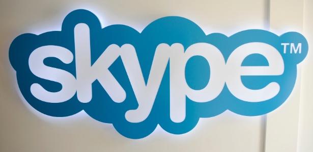 Logotipo do Skype, programa de voz sobre IP, na sede da companhia em Luxemburgo
