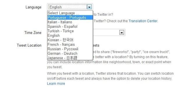 Usuário agora pode escolher se quer ver o Twitter em português