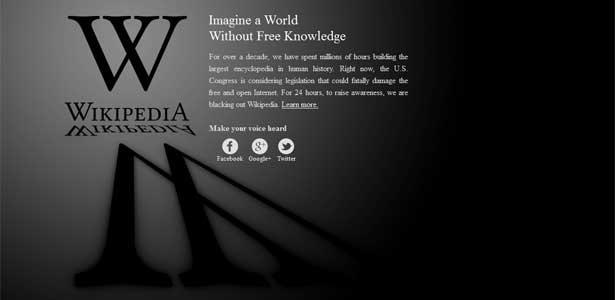 Página inicial da versão americana da Wikipedia exibe protesto contra projeto de lei antipirataria