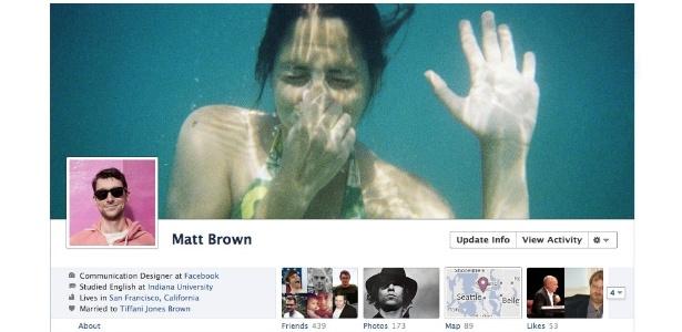 ´´Linha do tempo´´ do Facebook mostra imagem de capa, além da imagem pessoal do perfil