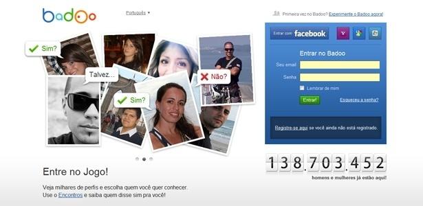 Página inicial da rede social Badoo; site tem mais de 145 mi de usuários registrados