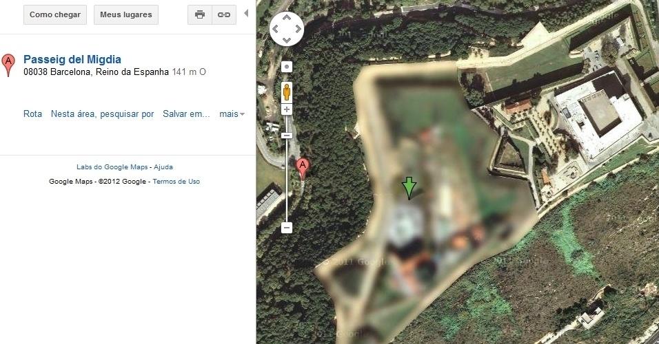 Fortaleza do Castelo de Montjuic, em Barcelona, mostrada pelo Google Maps