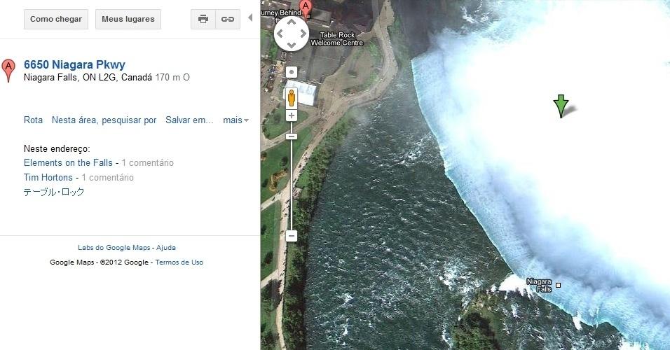 Hidrelétrica do rio Niagara, em Nova York, EUA, mostrado pelo Google Maps