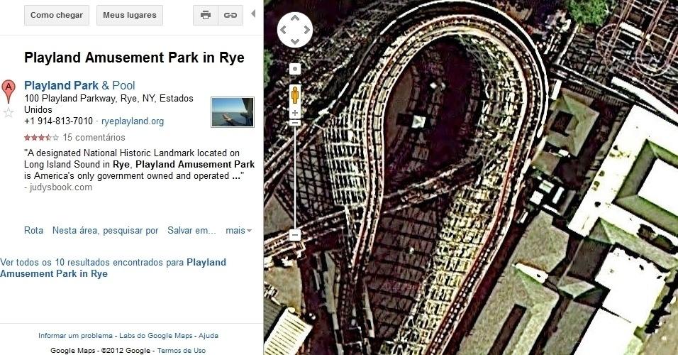 Parque de Diversões de Rye, nos EUA, no Google Maps