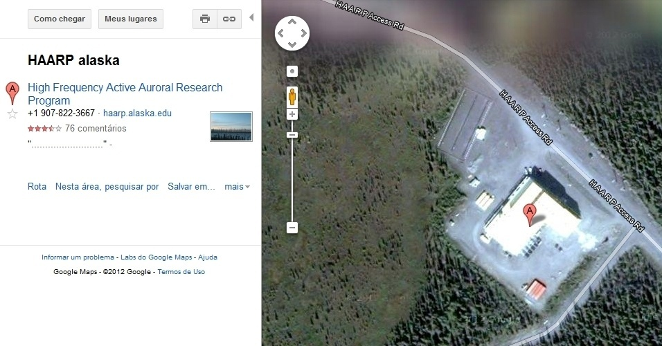 Programa de Investigação de Aurora Ativa de Alta Frequência no Alasca, no Google Maps