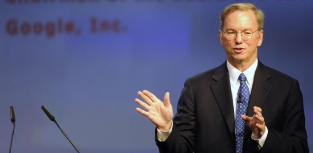 Eric Schmidt, diretor-executivo do Google, durante apresentação na IFA 2010