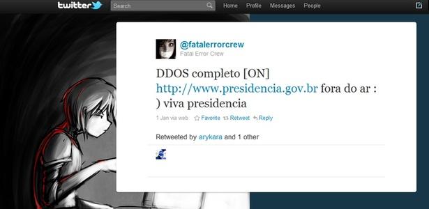 Grupo Fatal Error anunciou num perfil no Twitter o ataque ao site da Presidência da República