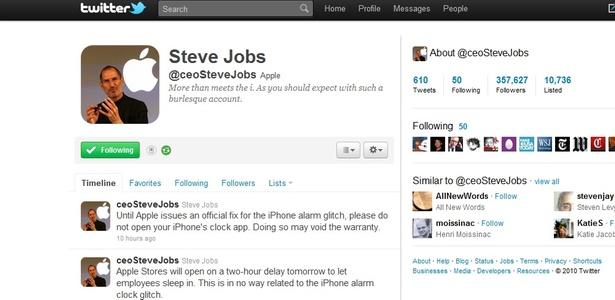 No Twitter, um perfil falso - agora crime na Califórnia - ironiza o comportamento do CEO da Apple
