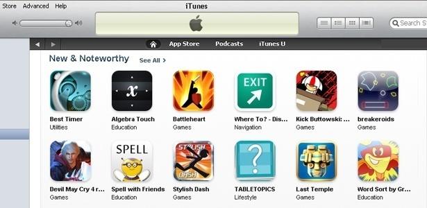 No programa iTunes, da Apple, é possível baixar músicas, vídeos e aplicativos para os gadgets da empresa; na imagem, alguns aplicativos novos disponíveis para download na loja virtual