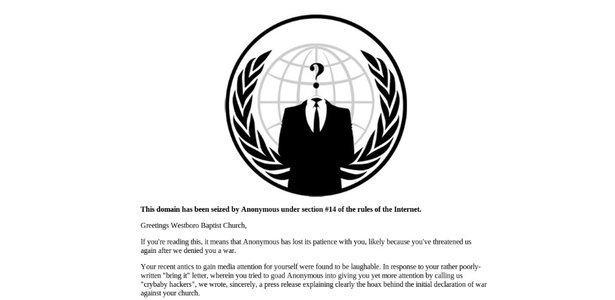 Mensagem do Anonymous desfigura página inicial do site da Igreja Batista de Websboro