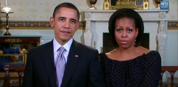 Barack Obama, presidente dos EUA, e Michelle Obama, sua esposa, em gravação de mensagem para conferência anti-bullying - Reprodução/White House