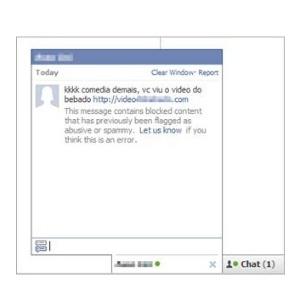 Praga virtual se espalha para usuários que estão online no chat do Facebook, com mensagem que contém um link malicioso