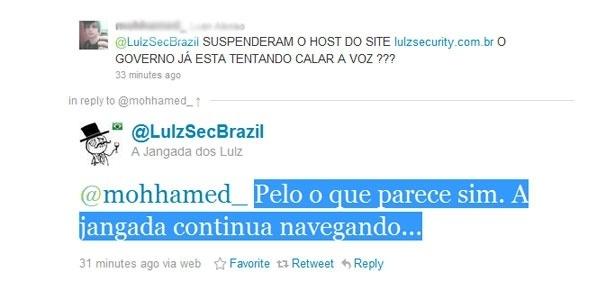 Perfil brasileiro respondeu se o Governo já estava tentando calar o grupo