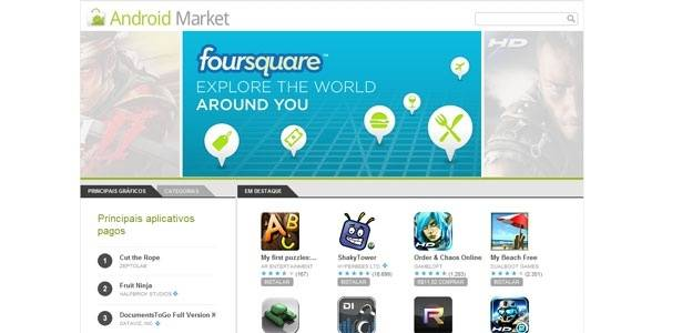 Android Market, loja online que permite ao usuário baixar aplicativos no aparelho, é confusa