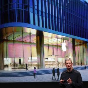 Tim Cook, CEO da Apple, durante apresentação na sede da empresa em Cupertino, Califórnia