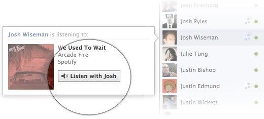 Aplicativo Spotify, que permite ouvir música no Facebook