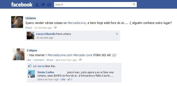 Usuários no Facebook reclamam que não conseguem acessar o MercadoLivre