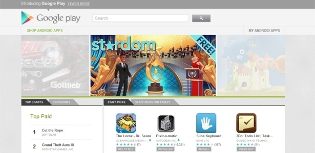 Página do Google Play; serviço vai unir Android Market, Google Music, Google Books e Google Movies