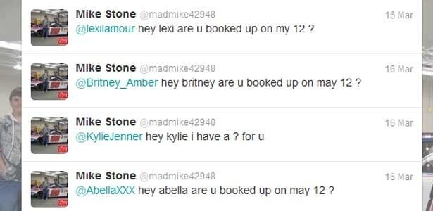 Mike Stone disparou convites para diversas famosas com perfil no Twitter